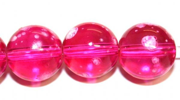 30pieces x 14mm Shocking pink colour round shape bubble gum glass beads / speckled glass beads -- 3005142
